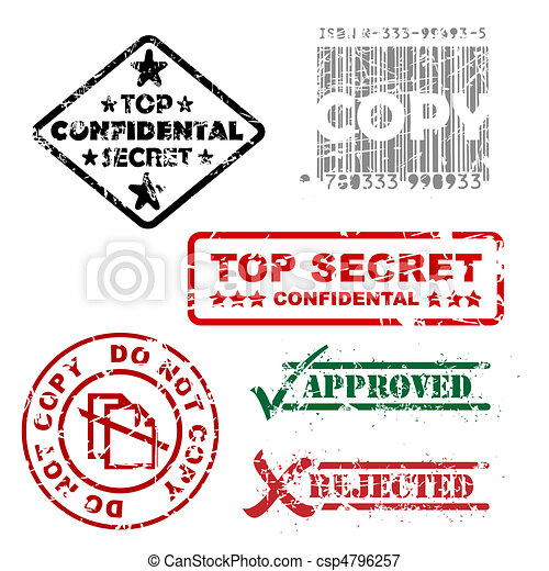 Top secret and other stamps - csp4796257