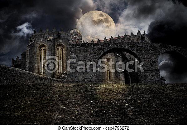 Medieval halloween scenery - csp4796272