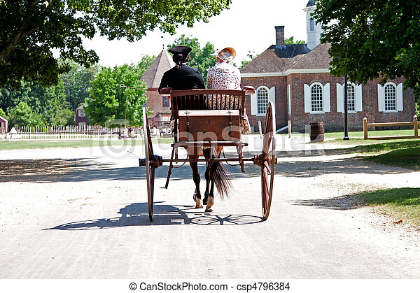 Colonial horse carriage with couple - csp4796384
