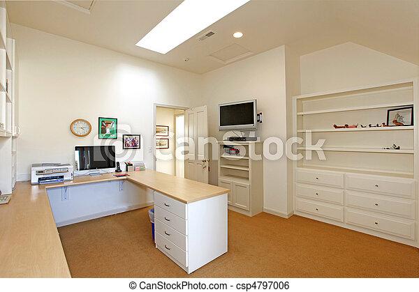 Stock beeld van groot thuis kantoor thuis kantoor met witte meubel csp4797006 zoek - Thuis kantoor ...
