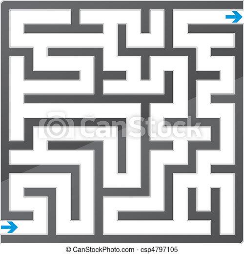 Small gray maze. Vector illustration - csp4797105