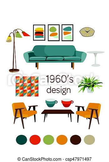 Modern Furniture Drawings eps vectors of interior design 1960. mid century modern furniture