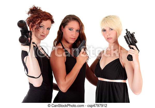 Three women black firearms - csp4797912