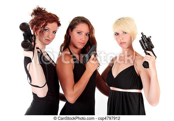 Three women black firearms - csp4797912