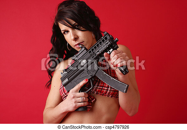Sexy young woman with gun - csp4797926