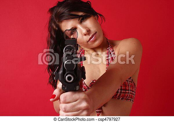 Sexy young woman with gun - csp4797927