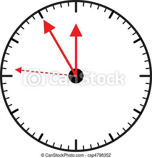 Clock pointing almost five to twelve, vector - csp4798352