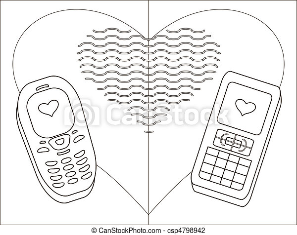 Mobile phones-enamoured, contours - csp4798942