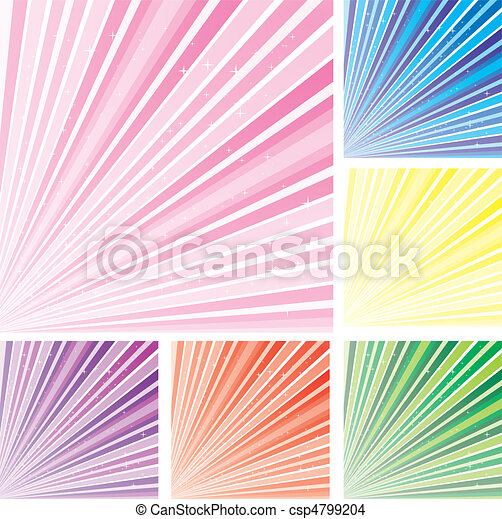Set of abstract colorful backgrounds with strips and stars, part 8, vector illustration - csp4799204