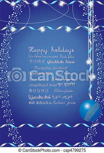 Happy holidays greetings on many languages, send it to your friends all over the world and they understand your message, vector illustration - csp4799275
