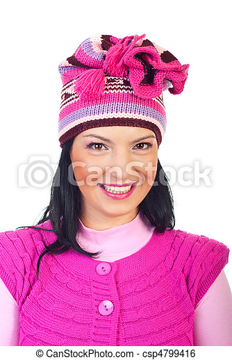 Woman with toothy smile in pink knitted cap - csp4799416