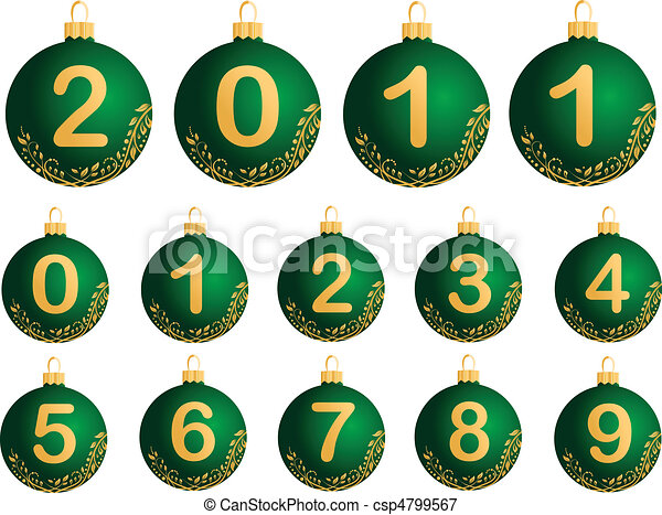 Green Christmas Balls with numerals - csp4799567