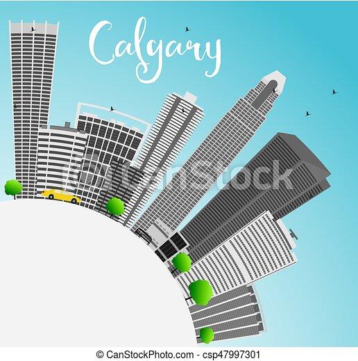 Calgary Skyline with Gray Buildings, Blue Sky and Copy Space. - csp47997301