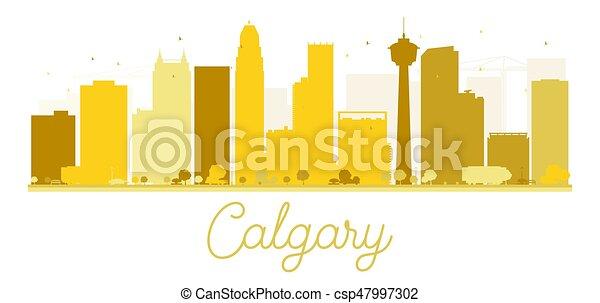 Calgary City skyline golden silhouette. - csp47997302