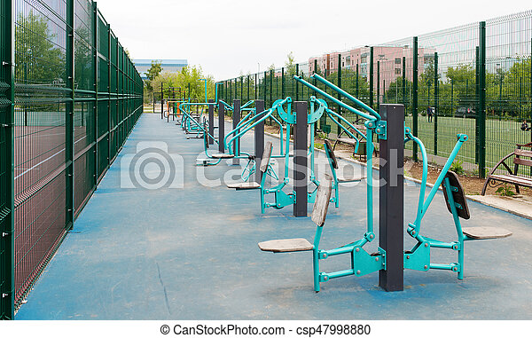 Views of the sports ground for street workout. Public area for sports training in the park.