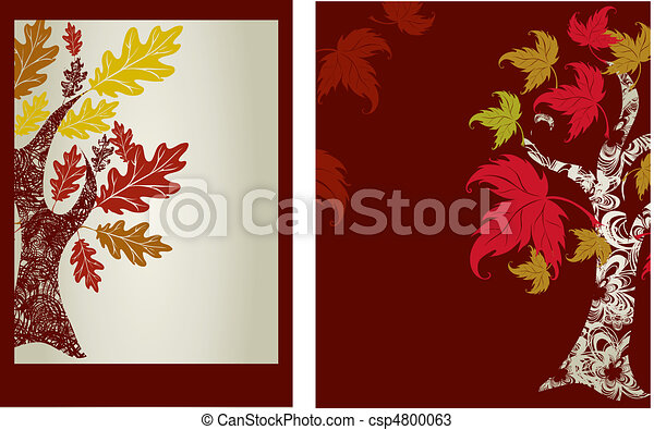 autumn leafs and place for text. Th - csp4800063