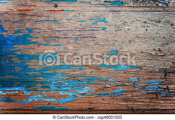 Colored wood background with peeling old paint - csp48001503