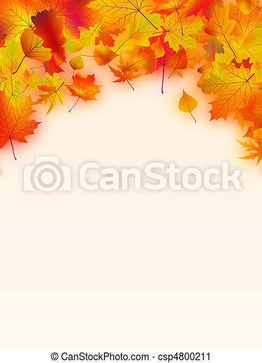 Vivid autumnal leaves frame for your text. - csp4800211