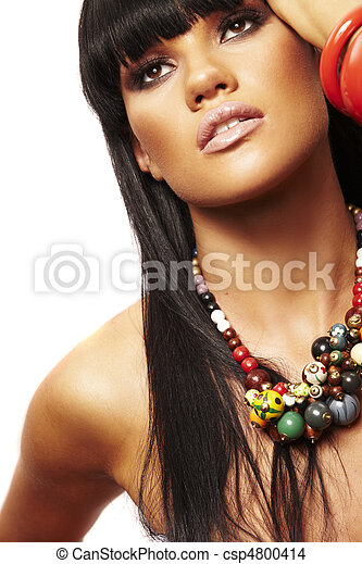 beutiful brunette with necklace - csp4800414