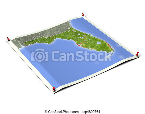 Florida on unfolded map sheet. - csp4800764