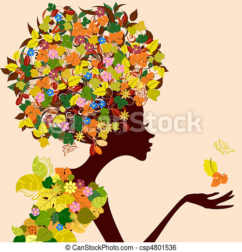Autumn Leaves Drawings Lady Autumn Leaves With a
