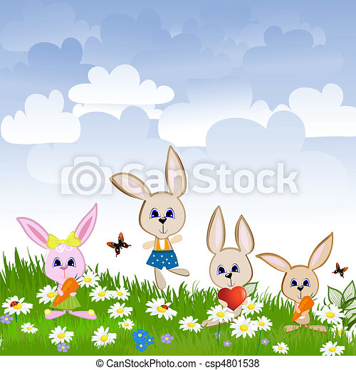 Hares on the lawn - csp4801538