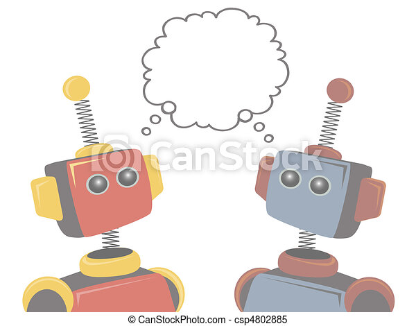 Two Robots Thinking of Same Subject - csp4802885