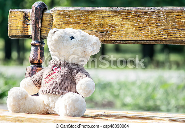 Big white teddy bear toy sitting on the wood bench. Good Idea for greeting or gift card design