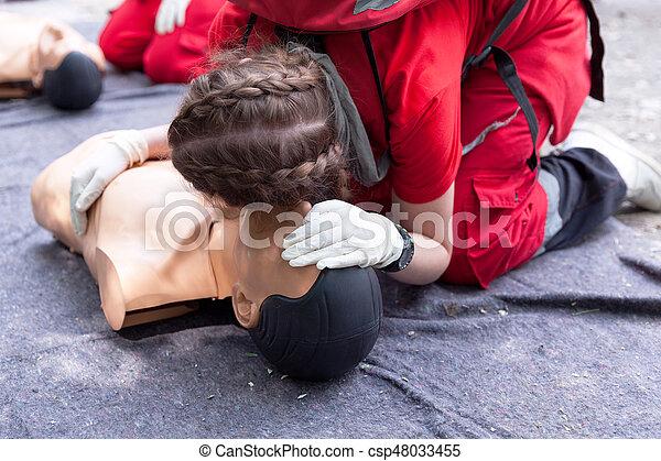 Cardiopulmonary resuscitation - CPR. First aid training detail.