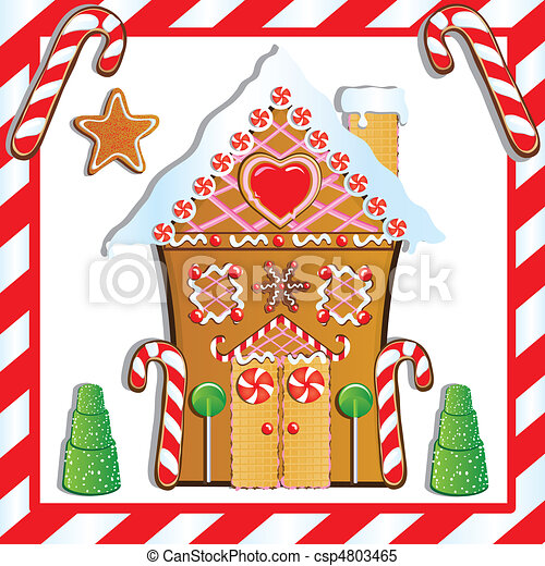 Candy House Drawing Gingerbread House Cute