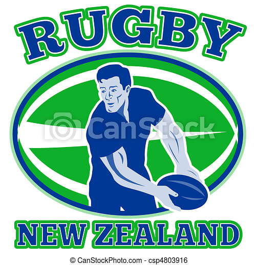 rugby player pass ball new zealand - csp4803916