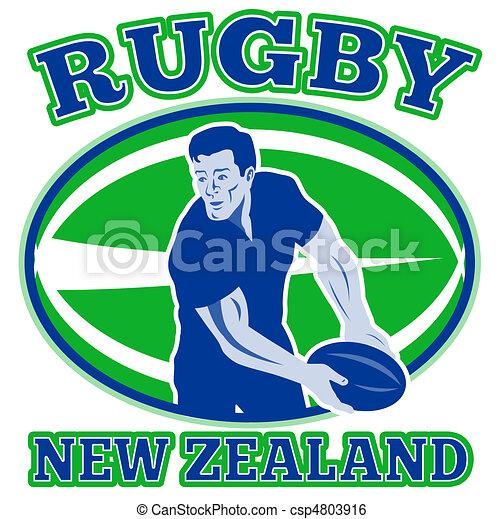 rugby player pass ball new zealand - csp4803916