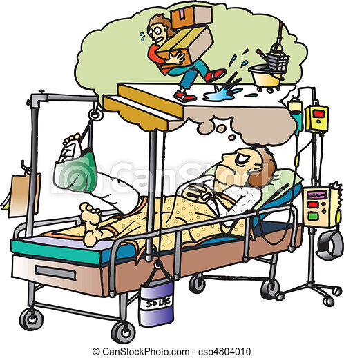 Vector Clipart of broken leg - man in hospital bed with cast on ...