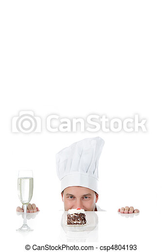 Attractive young caucasian man chef, temptation - csp4804193