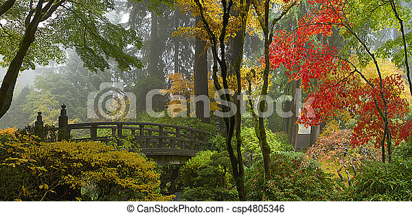 Wooden Bridge at Japanese Garden in Autumn Panorama - csp4805346