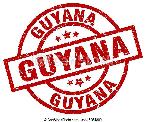 Guyana red round grunge stamp - csp48054880