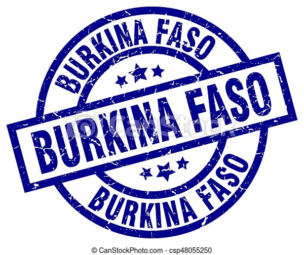 Burkina Faso blue round grunge stamp - csp48055250