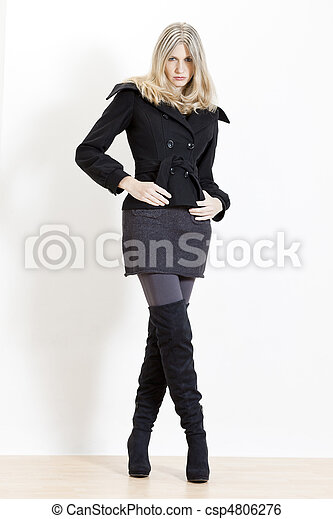 standing woman wearing fashionable black boots - csp4806276