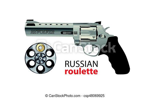 Revolver - russian roulette game - risk concept - csp48069925