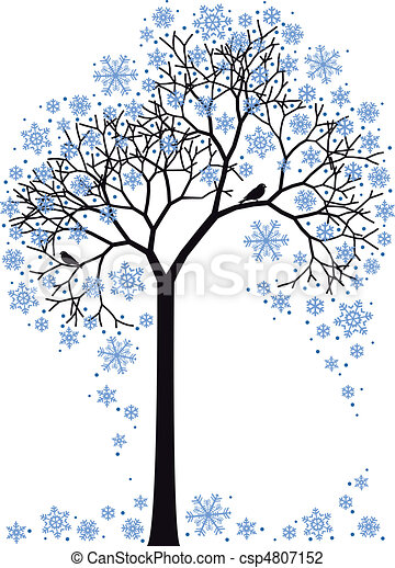 winter tree, vector - csp4807152