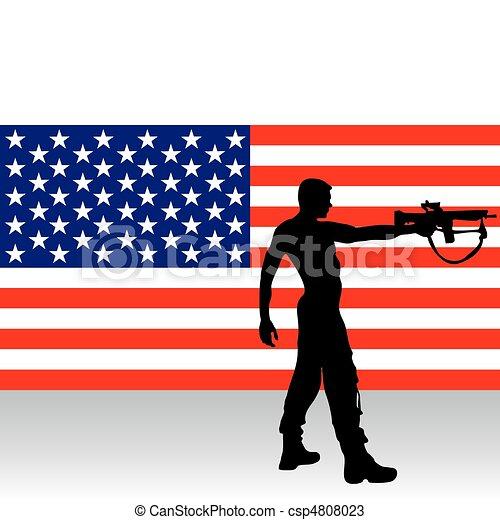 soldier with gun  - csp4808023