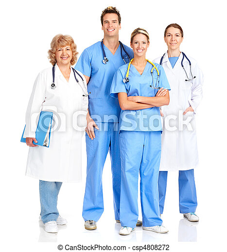 sorridente, medico, infermiera - csp4808272