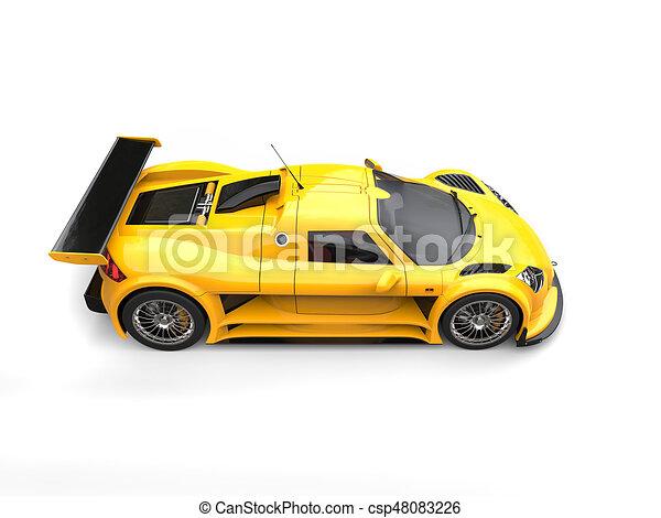 Clip Art Of Lemon Yellow Modern Super Racing Car Top Down Side