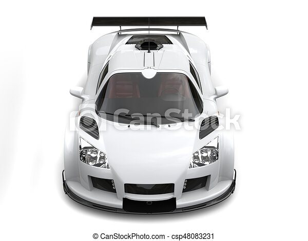 Drawings Of White Race Car Top Down Front View