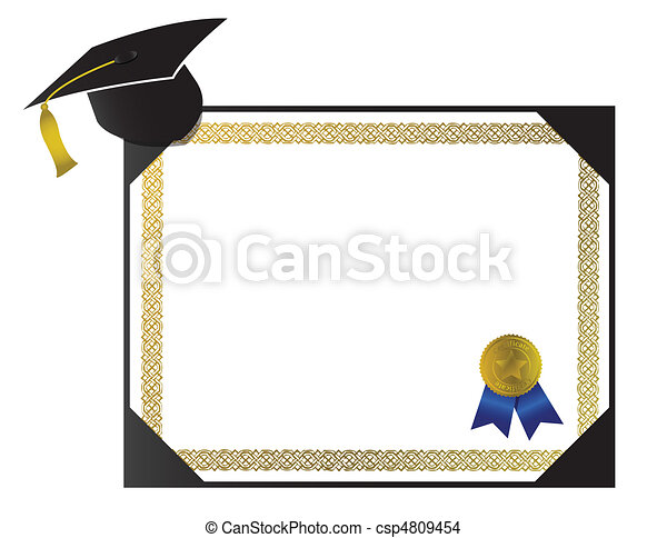 College Diploma with cap and tassel - csp4809454