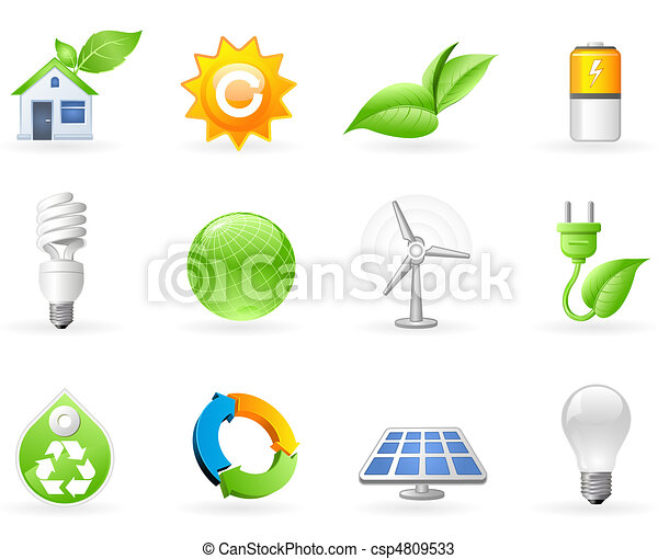 Ecology and Green Energy icon set - csp4809533