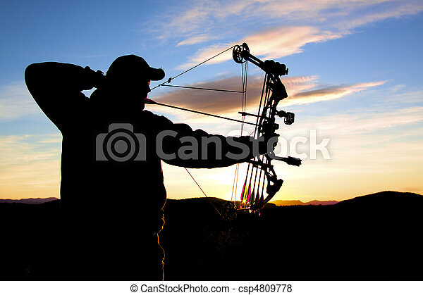 Bowhunter at Sunrise - csp4809778