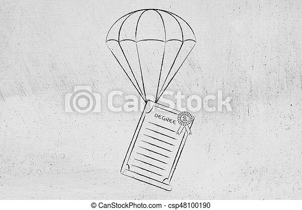 Degree paper on parachute, concept of supporting your future through education