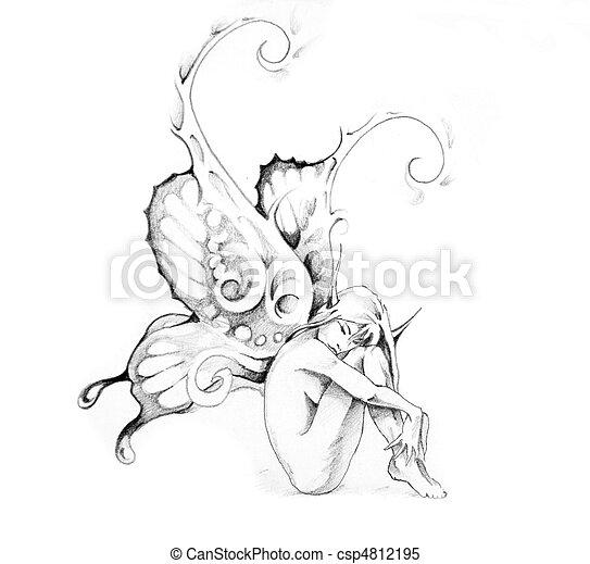 images de tatouage croquis art f e sketch de tatouage art f e csp4812195 recherchez. Black Bedroom Furniture Sets. Home Design Ideas