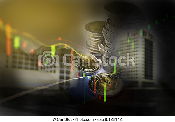 Double exposure stock financial indices with stack coin. Financial stock market in accounting market economy analysis.